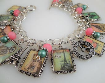 Vintage Whimsical  Altered Art Charm Bracelet in Pink and Mint Green