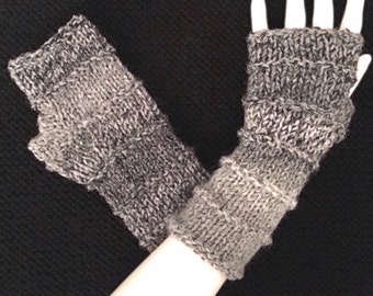 Knit Fingerless Gloves, Grey Hand Warmers, Fingerless Mitts_Marble Greys_Purled Rings, FG-PB103
