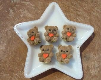 5 Bear Miniature Micro Flocked Figure Teddy Bear Figurine Micro Vintage NOS Craft Supply Hong Kong