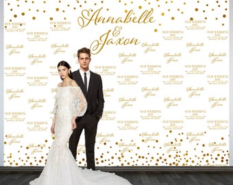 Wedding Photo Backdrop, Printed Custom Wedding Party Backdrop, Personalized Wedding Backdrop, White and Gold Sparkle Photo Booth Backdrop