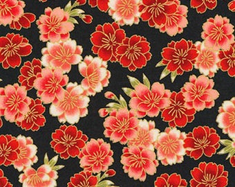 Cherry Blossoms: Red & Gold Metallic Asian Japanese Fabric - By the Half Yard