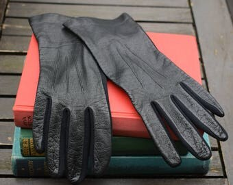 Ladies Black Leather Vintage Gloves Size 7 St Michael Made in Britain