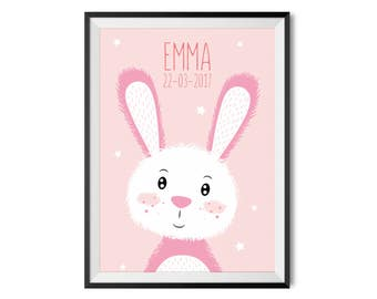 Poster with name A3 | Bunny pink