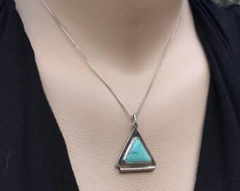Vintage Turquoise Necklace, Sterling Silver Turquoise Pendant, Silver Southwest Jewelry