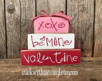 Be MINE blocks, Valentines day block, XoXo blocks, valentines day decor, heart sign, heart decor, LoVE you more sign, valentine stackers