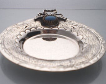 NEW Sterling Silver Tray with a bow, Vintage style, handcarved design with tirquaz stone
