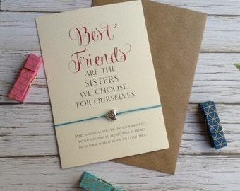 Best Friends Friendship Bracelet, Wish Bracelet,Friend bracelet, Best Friends Gift, Christmas Friend, Bestie, Sterling Silver Friend Gift,