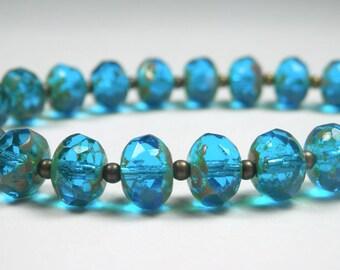 Blue Glass Bead Bracelet - Czech Glass - Blue Beaded Bracelet - Antique Gold Bracelet - Blue and Gold - Extender Chain - Gift for Her