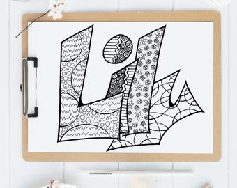 Color Your Name - LILY - Printable coloring pages for kids and adults.  Use for rainy day activity,turn into wall art,use your imagination!