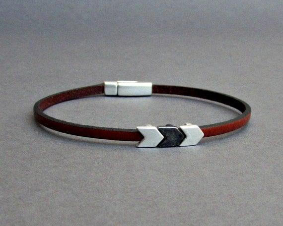 Arrowhead Bracelet Mens Tiny Leather Bracelet Spear Dainty Bracelet Boyfriend Gift Customized On Your Wrist width 3mm