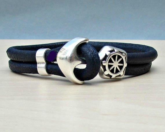 Blue Anchor Bracelet Mens Blue Leather Cord bracelet Cuff Sailing Bracelet Customized On Your Wrist.