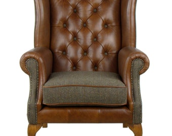 Bespoke Harris Tweed Italian Leather Armchair