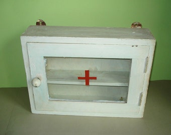 Rare Vintage Old Drug Store Apothecary Medical Medicine Wall Hanging Cabinet Wood RED CROSS