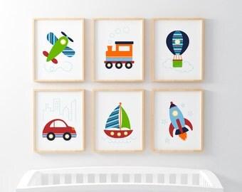 Baby Wall Art, Digital Download, Transportation Wall Art, Toddler Wall Art, Baby Boy Nursery Art, Boys Bedroom Decor, Baby Art Prints