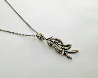Olive branch pendant with chain
