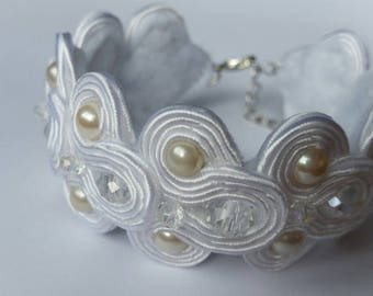 Soutache Bracelet, Handmade, Upcycled,Hand Embroidered, Braid, Beads, White