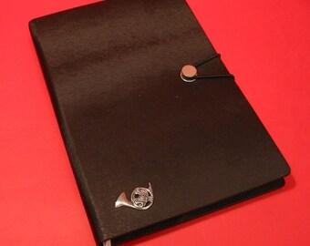 French Horn Hand Cast Pewter Motif on A5 Black Journal Brass Band Music Teacher Notebook Musical Gift