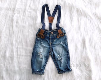 Boys Distressed Denim Suspender Pants or Shorts First Birthday Outfit Boy Smash Cake Outfit Newborn Boy Photo Outfit Boy Denim Overalls