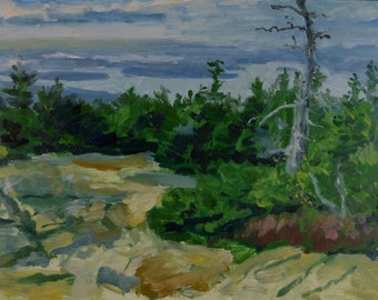Original Oil Painting, Maine Landscape, Cadillac Mountain View, by Robert Lafond