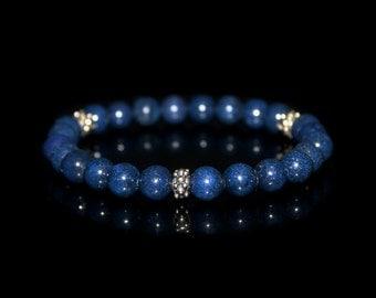 Men's Bracelet, Bracelet for Men, Lapis Lazuli and Sterling Silver Bracelet, Men's Bracelet, Men's Beaded Bracelet, Bracelet for Man