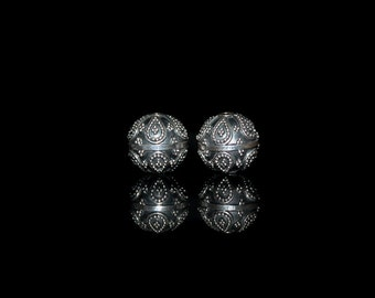 Two 12mm Sterling Silver Beads; Sterling Silver Granulation Beads, Bali Beads, Sterling Silver Beads, Beads, 11mm Silver Beads