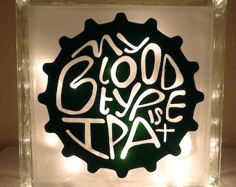 Man Cave Beer Sign My Blood Type is IPA + Lamp