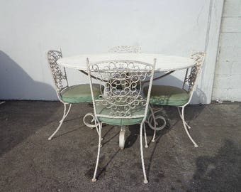 5PC Patio Set Table Chairs Arthur Umanoff Granada MCM Seating Lounge Mid Century Modern Retro Pool Furniture Outdoor Wrought Iron Balcony