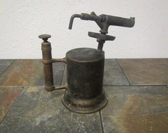 vintage Brass Blow Torch , solder torch, antique torch, soldering heating tool, primitive decor