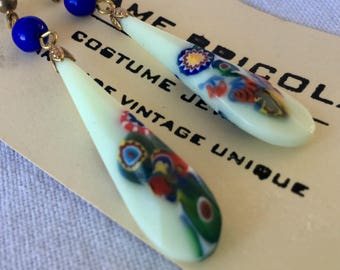 Dangle earrings with antique Czech glass drops