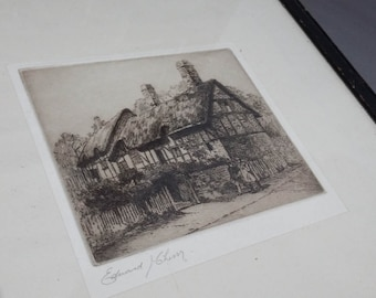 Edward Cherry Vintage Copperplate Etching 'Shakespeare Land''Anne Hathaway's Cottage