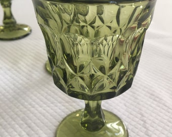 Vintage set of 6 avocado green whitehall juice sherry glasses with stems