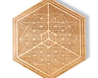 Tantalizing Tetrahedron - Wooden Crystal Grid - Design By Decah