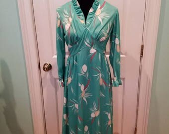 Vintage 70'S Green Floral Ruffle Dress