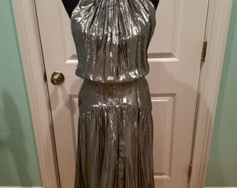 Vintage 80's Silver Lame' Drop Waist Dress