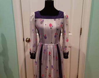 Vintage 70'S Semi Sheer Pleats and Dots Dress