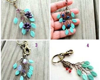 Amethyst,Turquoise, Key chain, vine, grapes cluster keychain,purple grape keychain,nature keychain,twig,branch keychain, grapevine keychain