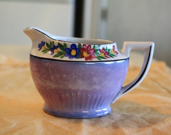 Vintage, Antique, Lusterware, made in Japan,1920's, blue creamer rimmed with flowers on white