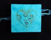 Turquoise book heart art concertina journal sketchbook notebook pocket book original thank you gift