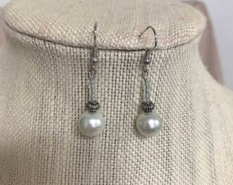 LaLove Designs Pearl and Silver Dangle Beaded Earrings