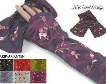 Warmers, arm warmers, taffeta cuffs, velvet gloves, gauntlets, gloves, wrist warmers, stretchy, festive, velvet, taffeta, red, pink, green, purple