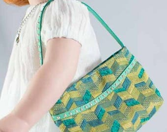 PURSE Bag Satchel in Turquoise and Gold Geometric Pattern for American Girl or 18 Inch Doll