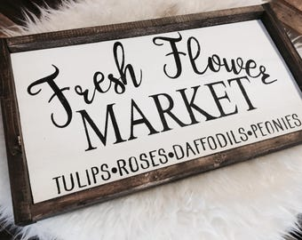 Fresh Flowers Sign / Fresh Flower / Spring Sign / Spring Decor / Wooden Signs / Wood Signs