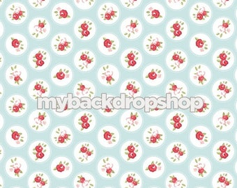 5ft x 5ft Baby Blue and White Flower Backdrop - Blue and White Dot Prop for Photos - Vinyl Photo Backdrop - White Dot Drop - Item 3163