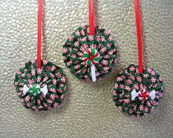 Peppermint Candy Ornament, Fabric Ornament, Tree Ornament, Christmas Ornament, Button Ornament, Yo Yo Ornament, Suffolk Puff