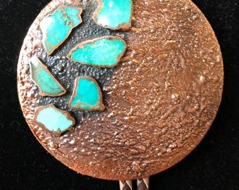 Vintage Native American Southwestern Solid Copper and Turquoise Bell Trading Post Bolo Tie