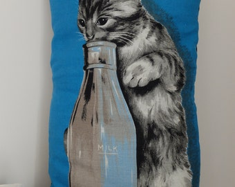 Vintage Kitten and Milk Tea Towel Cushion