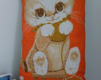 Vintage Knitting Cat Tea Towel Cushion