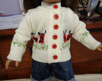 """18"""" Doll -Lady bug Sweater- Shown on my American Girl Doll"""