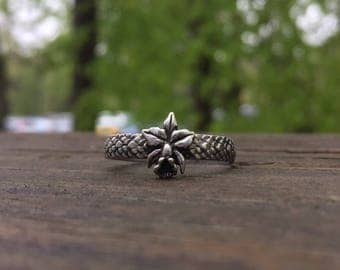 Custom order for Bryan, Lotus Flower Ring, little flower ring, Skinny band stack ring, Sterling Silver Stack Rings, Nature flower rings