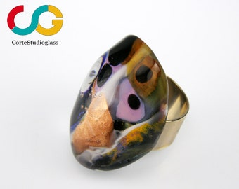 Murano glass ring-Lampwork ring-Universo collection-adjustable setting-exclusive creation by CSG